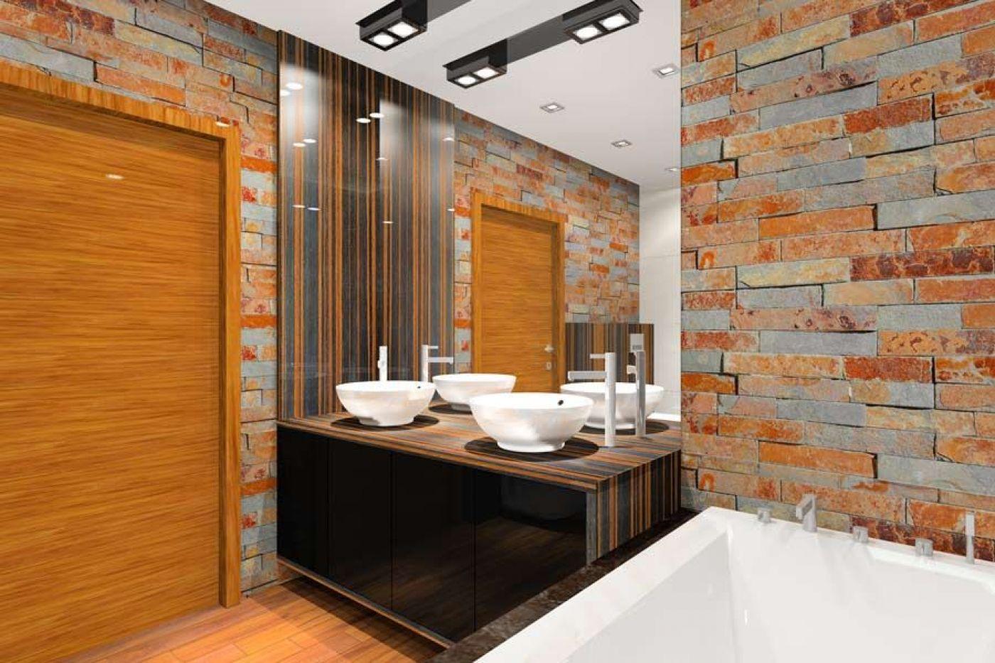 łazienka Z Cegłą W Roli Głównej